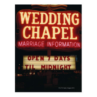 Neon Wedding Chapel Sign in Las Vegas, USA Postcard