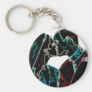Neon Will and Kate Basic Round Button Key Ring