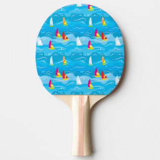 Neon Yacht Pattern Ping Pong Paddle