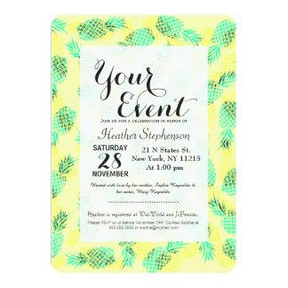 Neon Yellow and Green Tropical Hawaiian Pineapples 13 Cm X 18 Cm Invitation Card