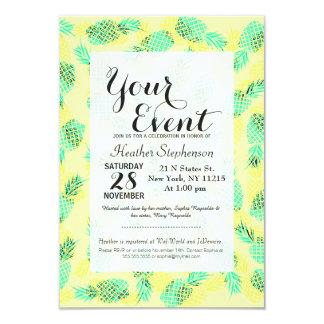 Neon Yellow and Green Tropical Hawaiian Pineapples 9 Cm X 13 Cm Invitation Card