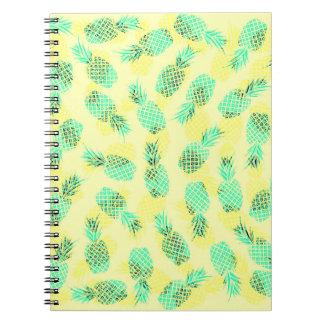 Neon Yellow and Green Tropical Hawaiian Pineapples Notebook