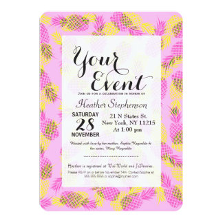 Neon Yellow and Pink Tropical Hawaiian Pineapples 13 Cm X 18 Cm Invitation Card