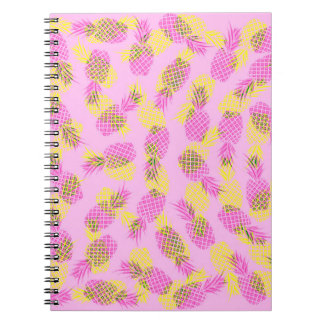 Neon Yellow and Pink Tropical Hawaiian Pineapples Notebook