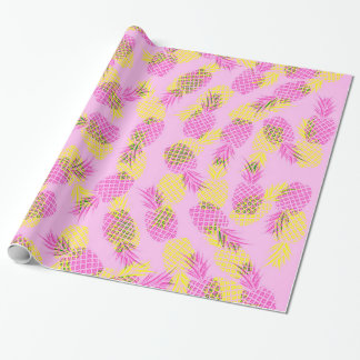 Neon Yellow and Pink Tropical Hawaiian Pineapples Wrapping Paper