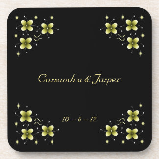 Neon Yellow Flower Sparkles Coasters