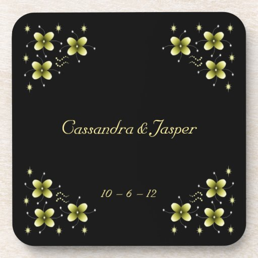 Neon Yellow Flower Sparkles Drink Coasters