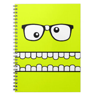 Neon Yellow Goofy Geeky Face Note Book