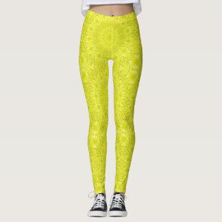 Neon Yellow Kaleidoscope Quilt Pattern Wild Cool Leggings