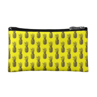 Neon yellow pineapple print Cosmetic Bag