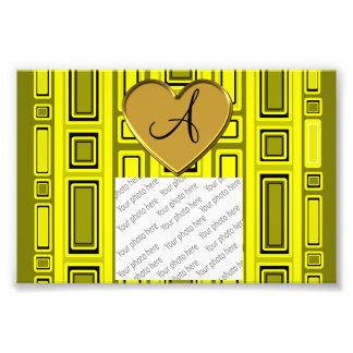 Neon yellow retro squares monogram photograph