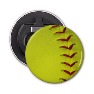 Neon Yellow Softball Bottle Opener