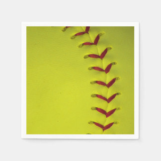 Neon Yellow Softball Paper Napkins