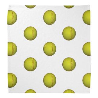 Neon Yellow Softball Pattern Bandana