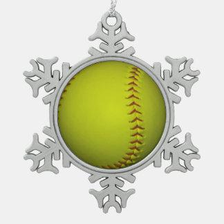 Neon Yellow Softball Pewter Snowflake Decoration