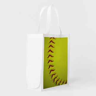 Neon Yellow Softball Reusable Grocery Bag