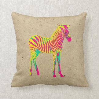 Neon Zebra Baby Animal Psychedelic Funky Retro Cushion