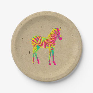 Neon Zebra Baby Animal Psychedelic Funky Retro Paper Plate