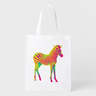 Neon Zebra Baby Animal Psychedelic Funky Retro Reusable Grocery Bag