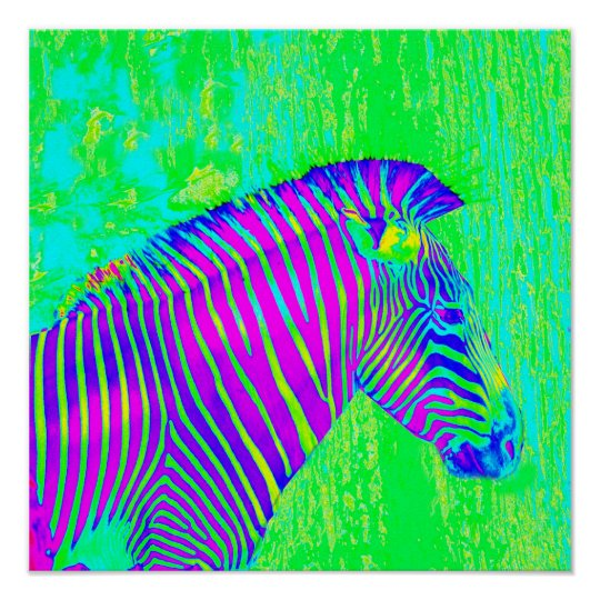 neon zebra - green,blue and purple retro poster