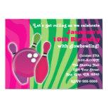 Neon Zebra Print Bowling Glow Bowl Party Invite