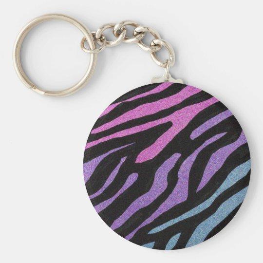 Neon Zebra Print Key Ring