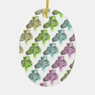 Neon Zebra Stripes Christmas Ornament