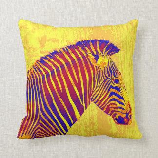 neon zebra- yellow, red cushion