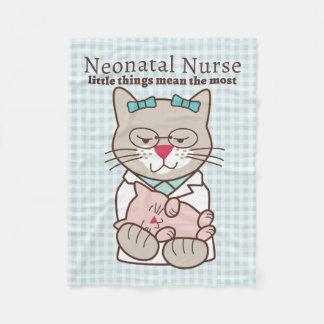 Neonatal Nurse, Cat with Baby Kitten Fleece Blanket