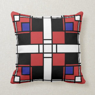 Neoplasticism symmetrical pattern in crimson red cushion