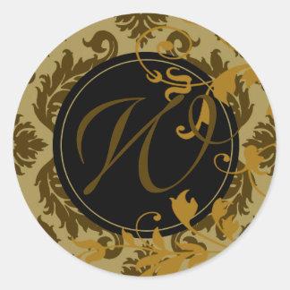 """Neopolitan Damask Monogram """"W"""" (celery/mustard) Round Sticker"""