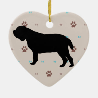 Neopolitan Mastiff Double-Sided Heart Ceramic Christmas Ornament
