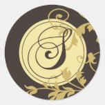 "Neopolitan Monogram Initial ""S"" (Epresso) Round Sticker"