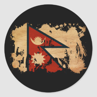Nepal Flag Round Sticker
