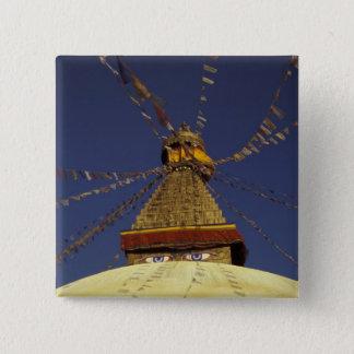 Nepal, Kathmandu. Under prayer flags, watchful 15 Cm Square Badge