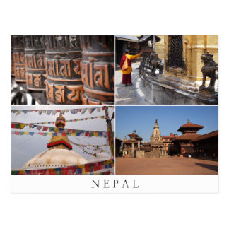 Nepal religion collage postcard