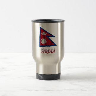 Nepal Waving Flag with Name Travel Mug