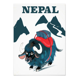 Nepal Yak vintage style travel poster Art Photo