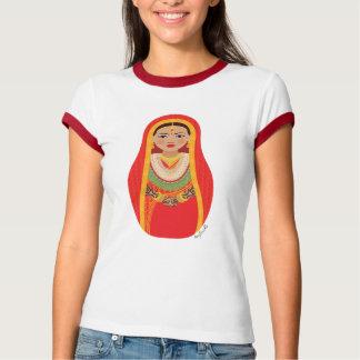 Nepalese Bride Matryoshka Ladies Ringer T-Shirt