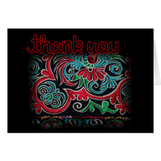 Nepalese embroidery Floral pattern Thank You Card