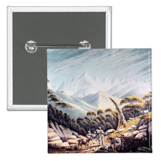 Nepalese Herdsmen in the Himalayas, 1826 15 Cm Square Badge