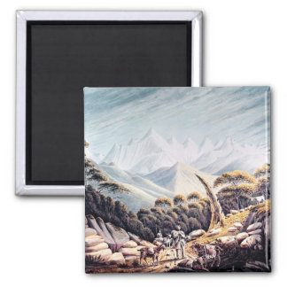 Nepalese Herdsmen in the Himalayas, 1826 Square Magnet