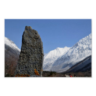 Nepalese Stone carving Everest Poster