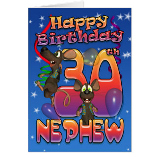Nephew - 30th Birthday Card Colourful With Mice