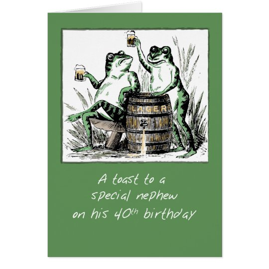 Nephew 40th Birthday Frogs Toasting with Beer Card