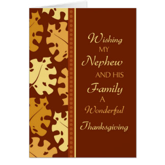 Nephew and Family Happy Thanksgiving Card
