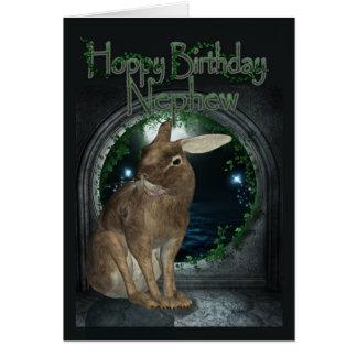Nephew Birthday Card - Hoppy Birthday With Rabbit