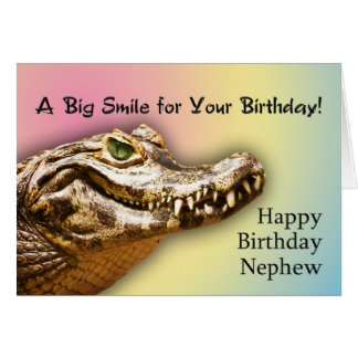 Nephew Birthday card with a smiling alligator