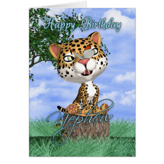 Nephew Birthday Card With Cute Jaguar And Butterfl