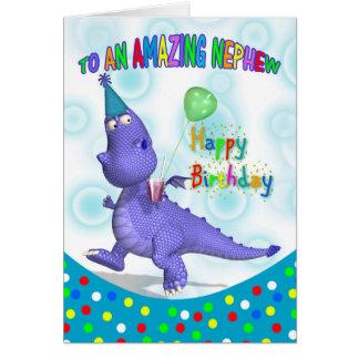 Nephew Birthday With Purple Dragon Drink And Ballo Greeting Card